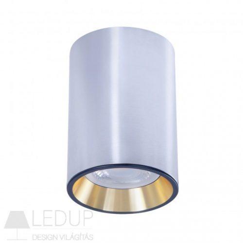 Design lámpa GU10 CHLOE MINI kerek, ház ezüst, gyűrű arany, perem fekete SPECTRUMLED