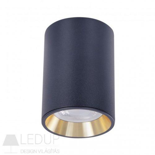 Design lámpa GU10 CHLOE MINI kerek, ház fekete, gyűrű arany, perem fekete SPECTRUMLED