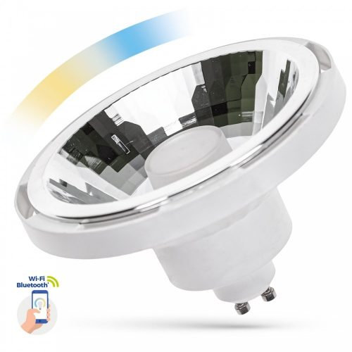 LED AR111 GU10 230V 10W SMD 30° CCT+DIMM WI-FI/BT SMART fehér házas SPECTRUMLED
