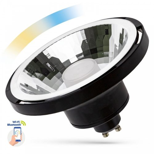 LED AR111 GU10 230V 10W SMD 30° CCT+DIMM WI-FI/BT SMART fekete házas SPECTRUMLED